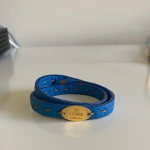 Fendi Double Wrap Leather Bracelet - Blue/Gold